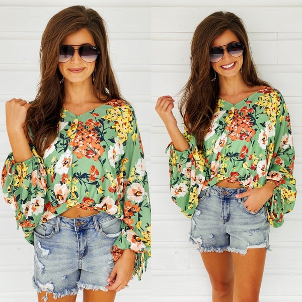 So You Sage Floral Top