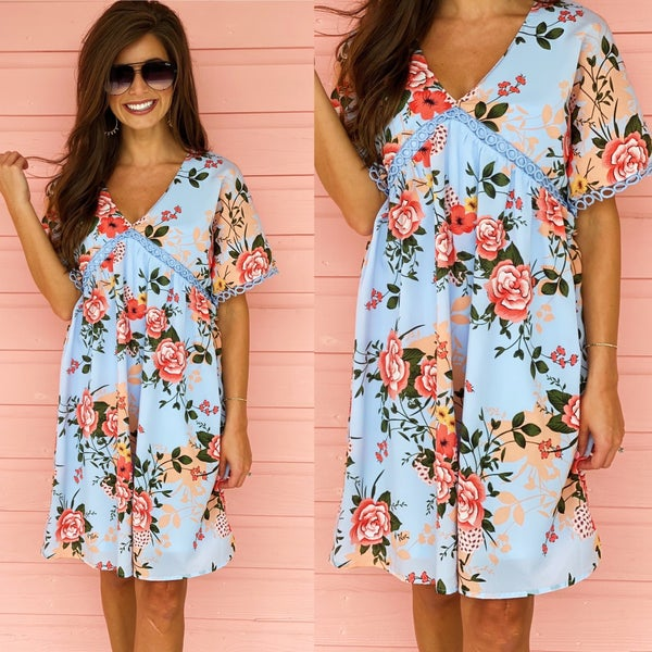 Dreaming in Sky Blue Floral Dress