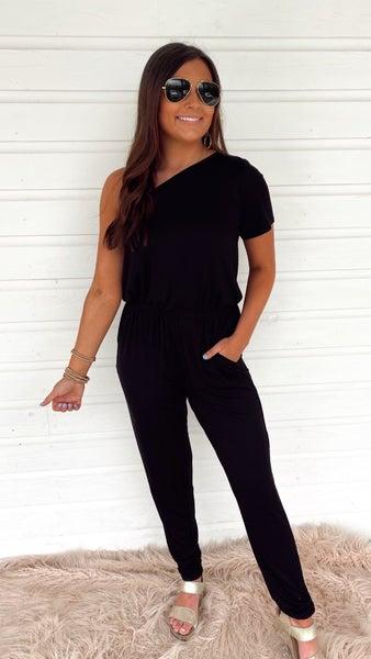 Always Ready One Shoulder Jumpsuit- Black