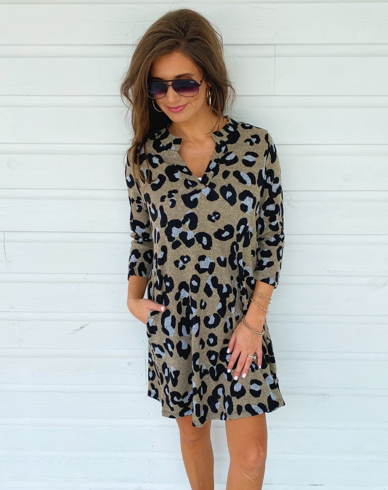 Tell Me Taupe Leopard Dress