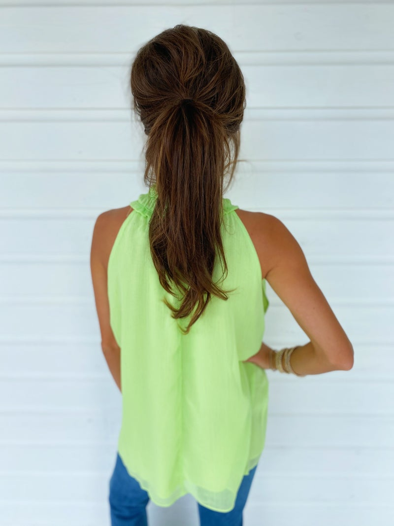 Lucy Halter Neck Top- Lime