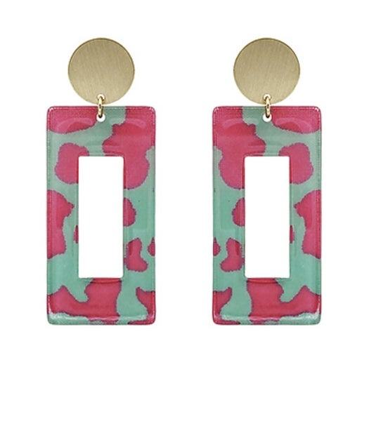 Hot For Pink & Turquoise Rectangle Earrings