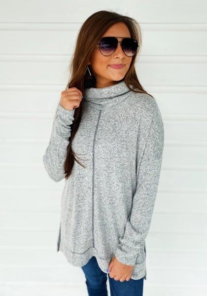 Heather Grey Turtle Neck Tunic