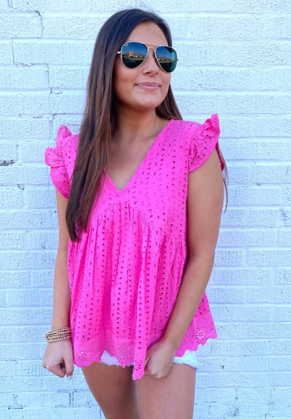 Ready For Pink Eyelet Top
