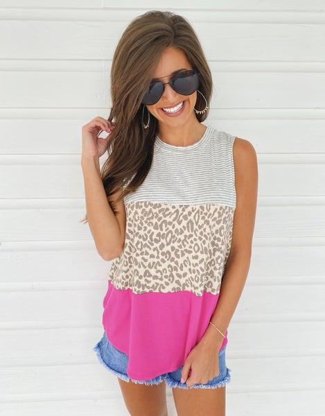 Pretty In Pink Color Block Top