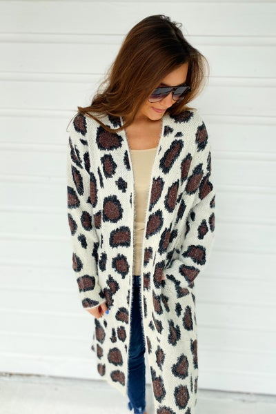 Off White Fuzzy Leopard Cardigan
