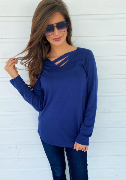 Evie Navy Top *Final Sale*