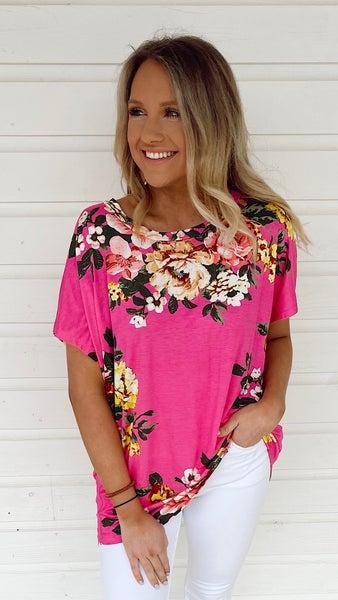 Halie Hot Pink Floral Top