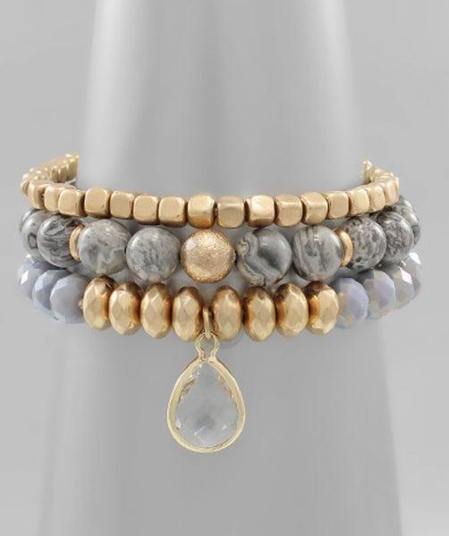 Grey Stone & Glass Beaded Bracelet
