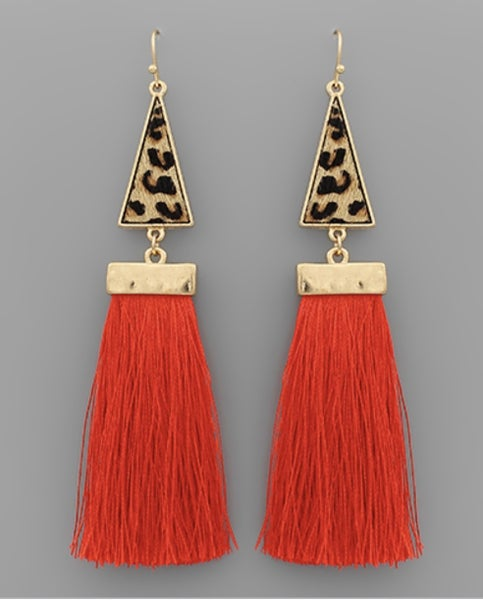 Leah Leopard & Bright Red Tassel Earrings