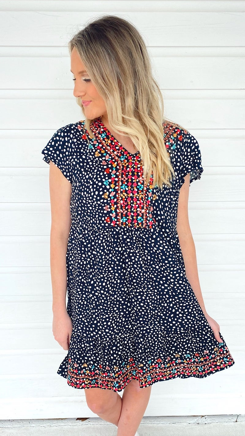 Spot On Embroidered Dress