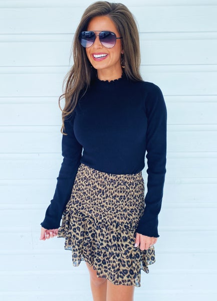 Live It Up In Leopard Smocked Skirt