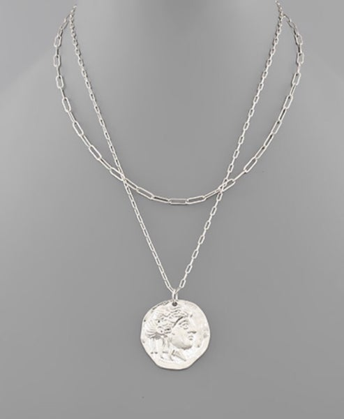 Satin Silver Face Coin Necklace