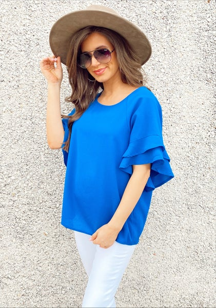 Cobalt Blue Bell Sleeve Top