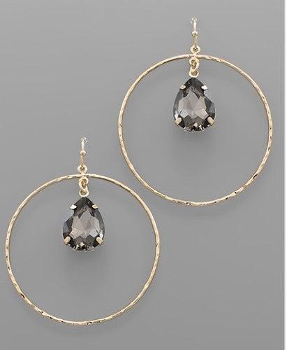Oh My Black Crystal & Circle Earrings