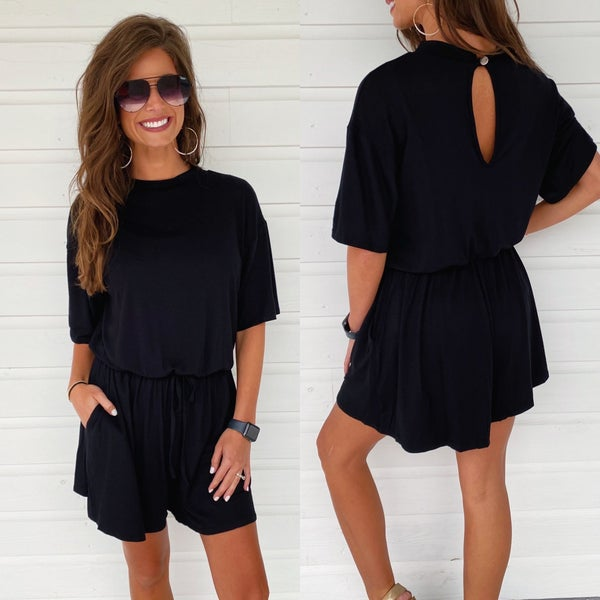 Poolside Party Black Romper