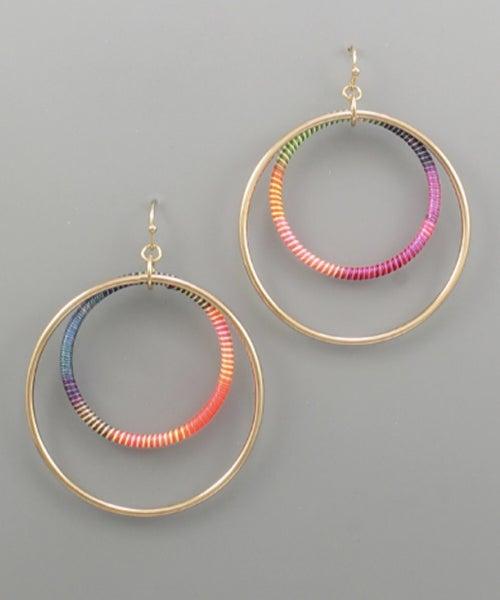 Neon Meets Gold Circle Earrings
