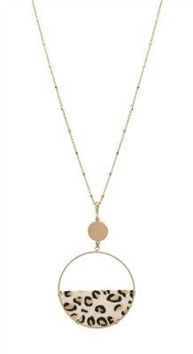 Wild For White Cheetah Circle Necklace