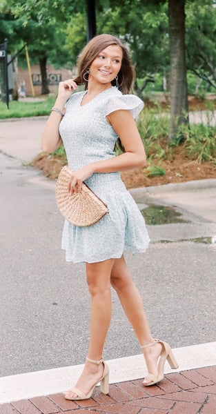 Seafoam Floral Smocked Dress