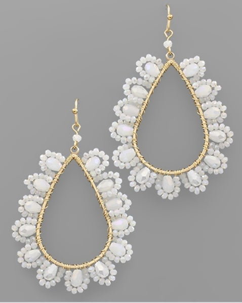 Flower Power Beaded Earrings- White