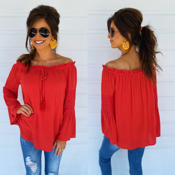 Dark Coral Off Shoulder Top *Final Sale*