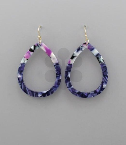 Loss Time Acrylic Drop Earrings- navy