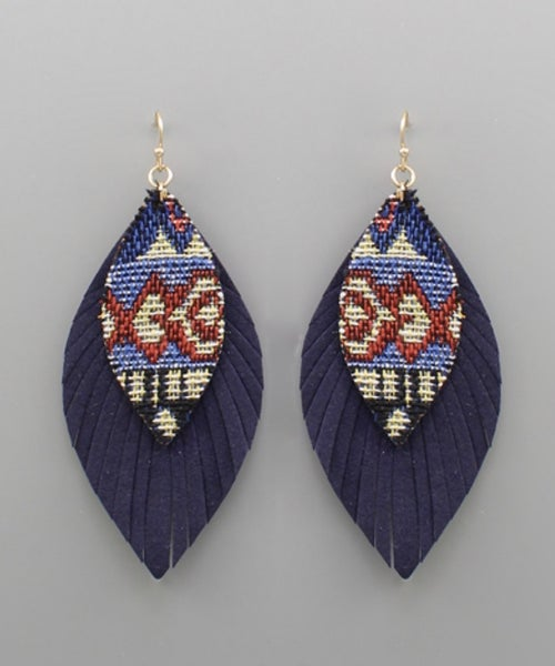 Navy Blue Leather Feather Earrings