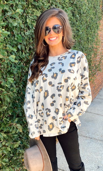 Beige and Camel Leopard Top