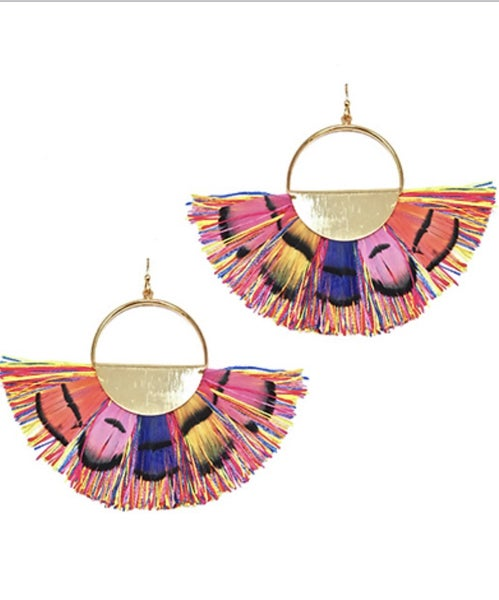 Multicolored Circle & Feather Tassel Earrings