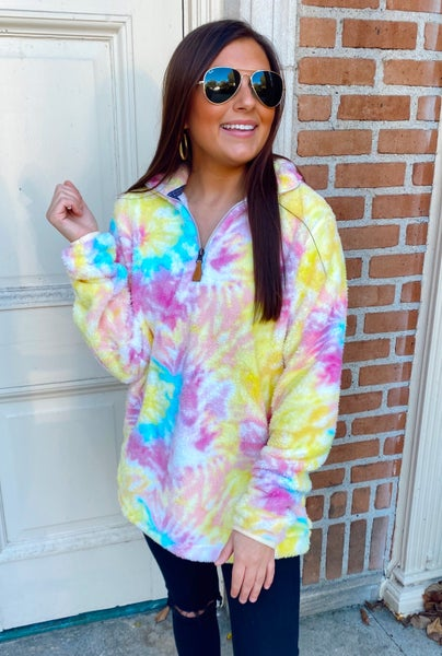All I Want Bright Tie Dye Zip Up