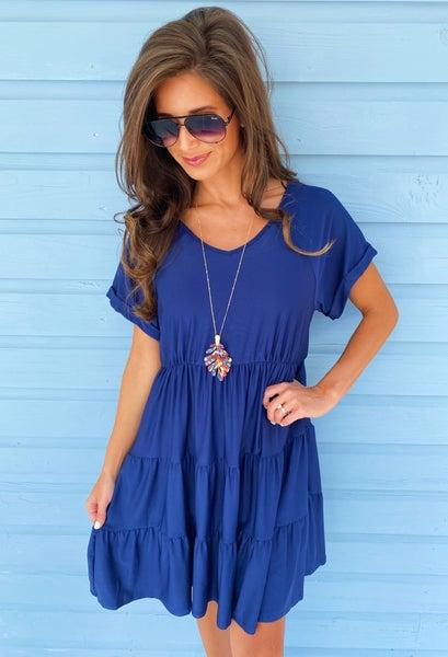 Adalyn Ruffle Dress- Navy
