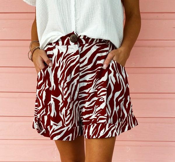 Burgundy Zebra Print Shorts