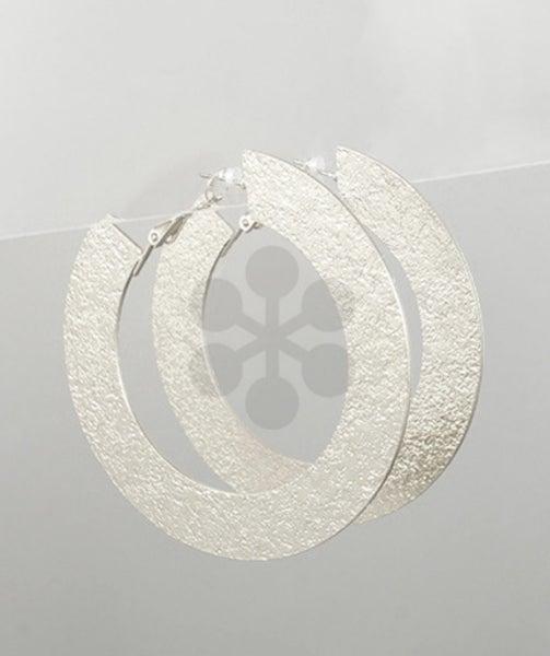 Silver Textured Flat Hoop Earrings