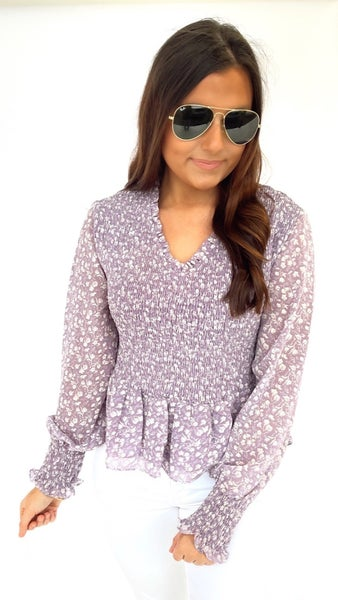 Lilac Smocked Peplum Printed Top