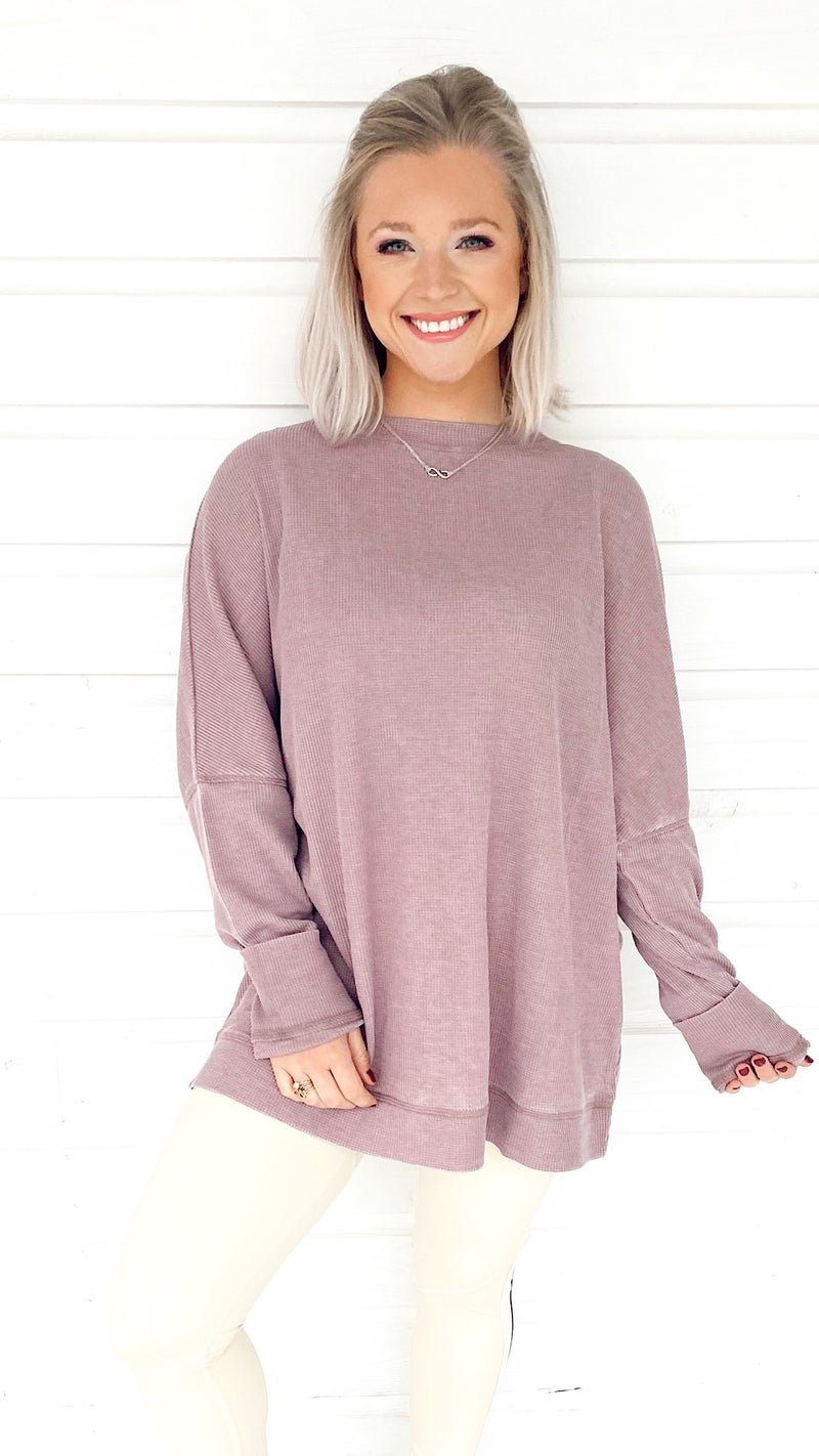 Wanting More Waffle Pullover- Dusty Pink