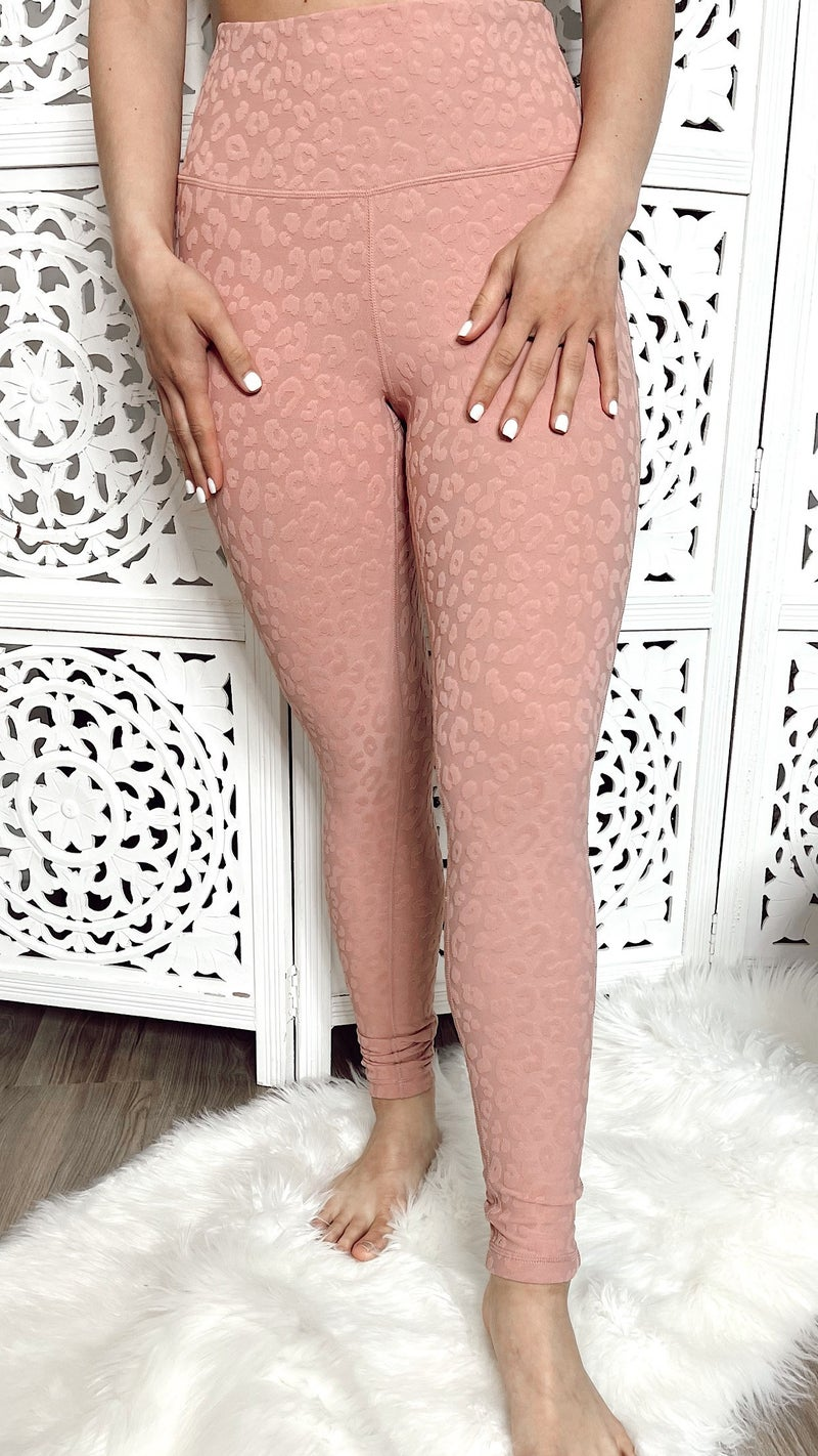 Stacie Leopard Textured Leggings- Dusty Pink