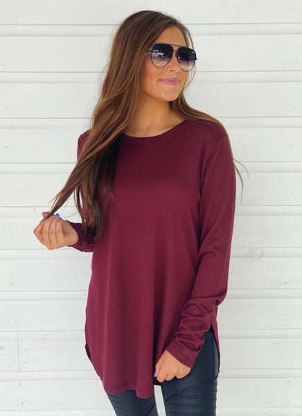 Sadie Side Slit Top- Burgundy