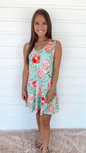 Mint Floral Dreams V Neck Dress