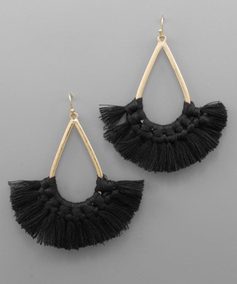 Black Teardrop Tassel Earrings