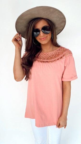 Lucy Light Pink Crochet Top