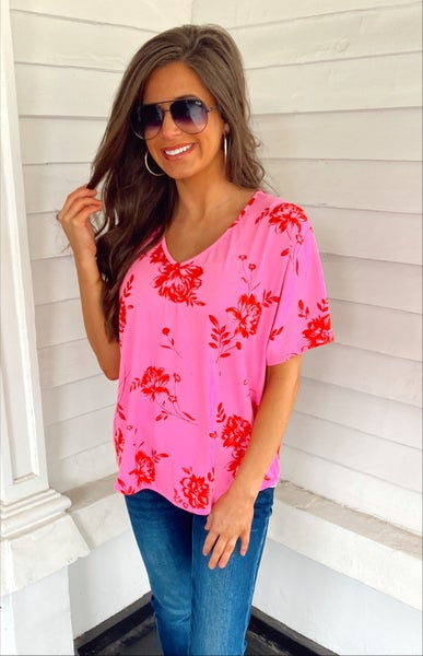 Pink and Red Blossom Top
