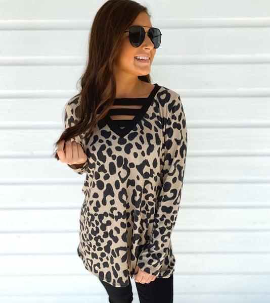 Madeline Mocha Leopard Top *Final Sale*