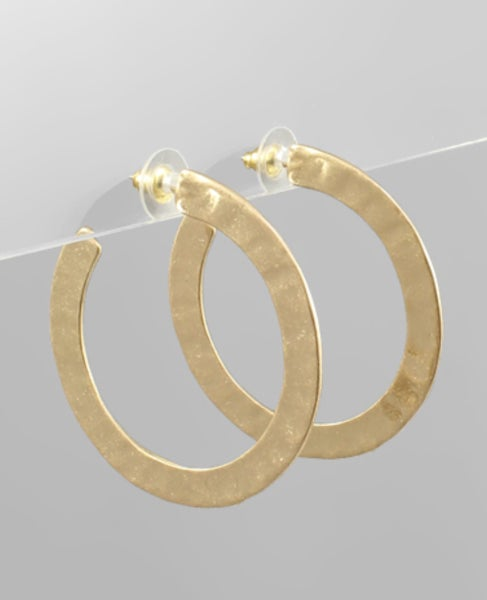Hammered Gold Open Hoop Earrings