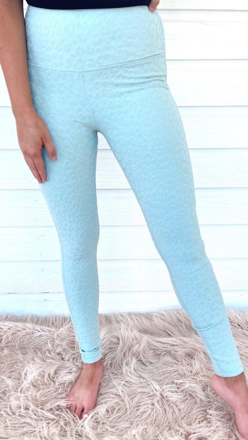 Stacie Leopard Textured Leggings- Surf Spray