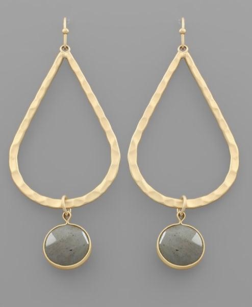 Golden Streets Teardrop Earrings- Grey