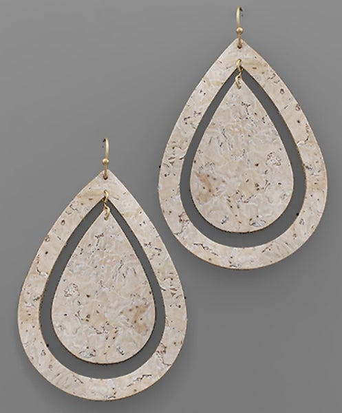 Neutral Teardrop Cork Earrings