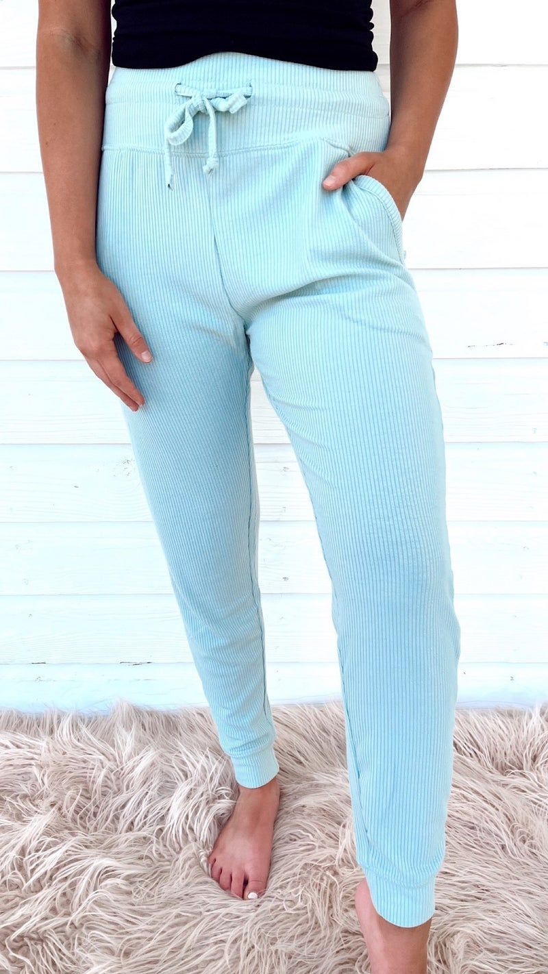 Spring Vibes Ribbed Joggers- Mint