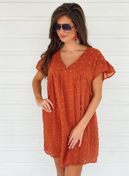 Skylar Textured Dress- Rust