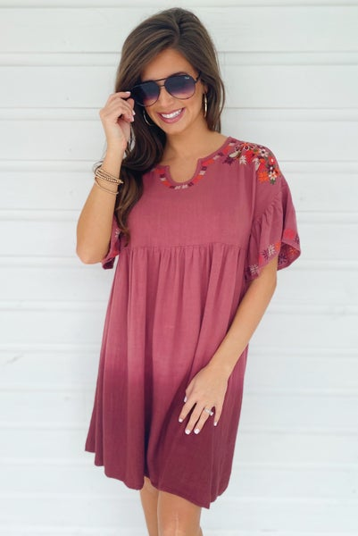 Embroidered Baby Doll Dress- Deep Blush
