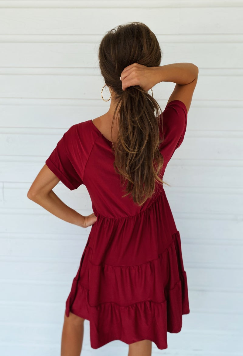 Adalyn Ruffle Dress- Wine